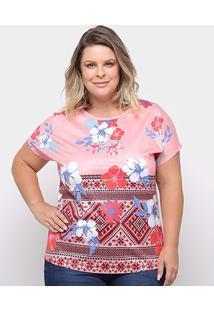 Blusa Lemise Plus Size Flores Feminina - Feminino-Rosa