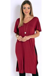 Blusa Alongada Vermelha Com Fendas Laterais