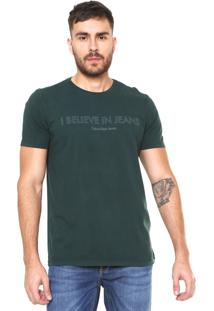 Camiseta Calvin Klein Jeans Frase Verde