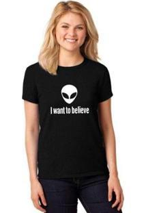 Camiseta T-Shirt I Want To Believe Baby Look Feminina - Feminino-Preto