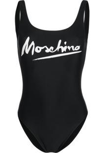 Moschino Maiô Com Estampa De Logo - Preto