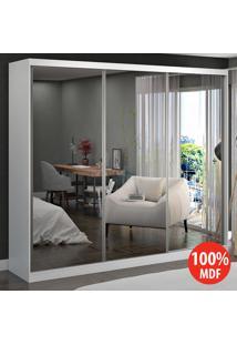 Guarda Roupa Casal 3 Portas Com 3 Espelhos 100% Mdf 774E3 Branco - Foscarini