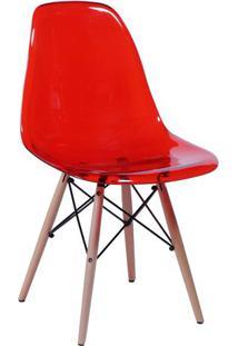 Jogo De Cadeiras Eames Dkr- Vermelho & Madeira Claraor Design