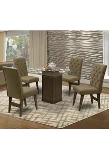 Mesa Para Sala De Jantar Saint Louis Com 4 Cadeiras – Dobuê Movelaria - Castanho-Rt / Castor
