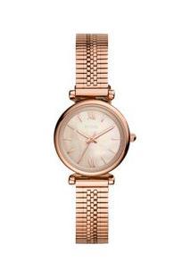 Relógio Fossil Feminino Carlie Mini Rosé Es4697/1Jn Es4697/1Jn