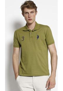 Polo Com Bordado- Verde Militar & Azul Marinhoclub Polo Collection