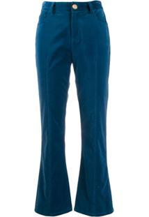 Derek Lam 10 Crosby Calça Cropped Flare Com Stretch - Azul