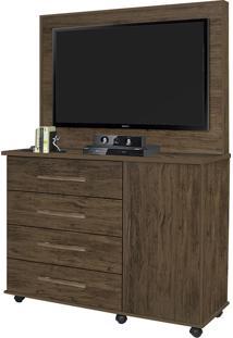 Cômoda Com 4 Gavetas E 1 Porta Star-Móveis Primus - Amêndoa Wood