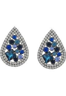 Brinco Gota Com Pedras Tudo Joias Folheado A Ródio Com Zircônias - Feminino-Azul