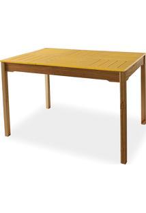 Mesa Para Cozinha De Madeira Maciça Taeda Com Tampo Colorido Olga Verniz Capuccino E Amarelo 120X80X75Cm
