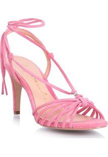 Sandália Tiras Transpassadas Camurça Rosa