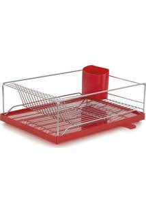 Escorredor Louça Dry 16 Pratos Com Bandeja Coletora - Forma Inox - Vermelho