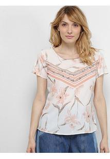Blusa Acostamento Floral Feminina - Feminino-Branco+Rosa