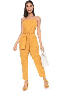 Macacão Dress To Reto Amarração Amarelo