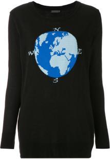 A.Brand Blusa De Tricô Com Estampa - Preto