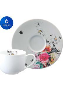 Conjunto 6 Xícaras De Chá Com Pires Aquarela + Amarelo - Schmidt - Multicolorido