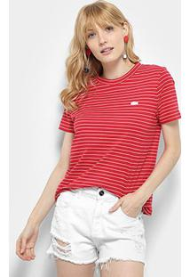 Camiseta Lacoste T-Shirt Feminina - Feminino-Vermelho