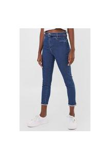 Calça Cropped Jeans Sawary Skinny Pespontos Azul
