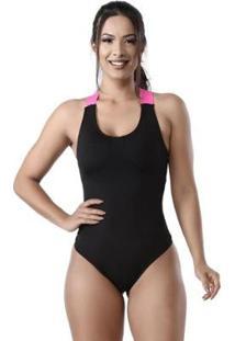 Body Sustentação Elástico Neon Feminino - Feminino-Preto