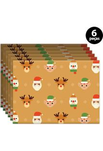 Jogo Americano Mdecore Natal 40X28Cm Caramelo 6Pçs