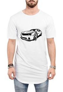 Camiseta Criativa Urbana Long Line Oversized Super Carros Masculina - Masculino-Branco