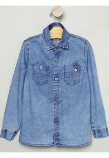 Camisa Jeans Com Bolsos- Azul- Bakulelêbakulelê