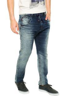 Calça Jeans Ellus Slim Estonada Azul