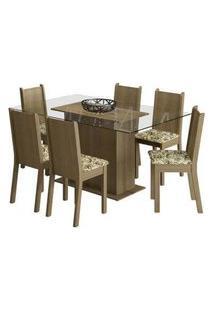 Conjunto Sala De Jantar Madesa Molly Mesa Tampo De Vidro Com 6 Cadeiras Rustic/Lírio Bege Rustic