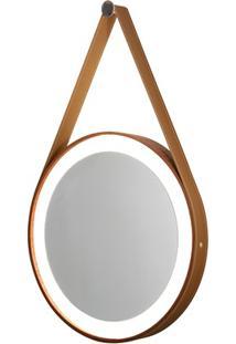 Espelho Redondo Com Led De Madeira Com Couro Mogno Marrom