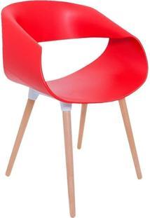 Cadeira Petra Encosto Curvo Sala De Jantar Vermelha Pés Madeira - Facthus
