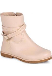 Ankle Boots Infantil Pampili Rubi Tachas Bege