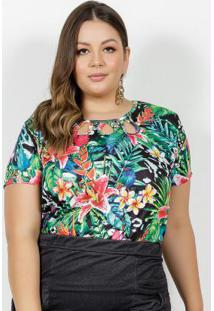 Blusa Tropical Com Vazados No Decote Plus Size