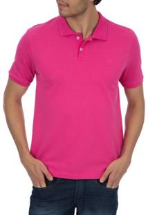 Camisa Polo Masculina Rosa Lisa - P