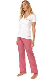 Pijama Calvin Klein Underwear Xadrez Branca/Rosa