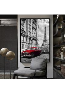 Quadro 150X100Cm Paris França Carro Vermelho Vidro Cristal E Moldura Preta Decorativo Interiores - Oppen House