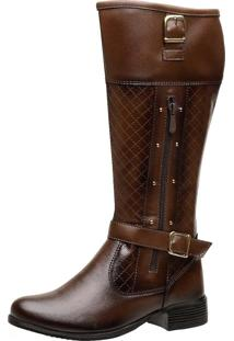 Bota Montaria Ousy Shoes Fivelas Cano Longo Marrom