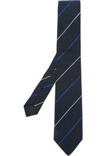 Boss Hugo Boss Gravata De Seda Listrada - Azul