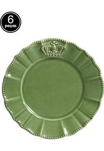 Jogo De Pratos Sobremesa 6 Pçs Windsor Verde Sálvia Porto Brasil
