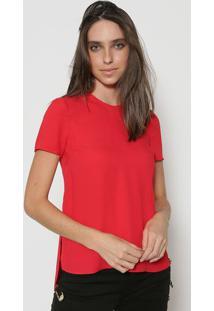 Camiseta Lisa Com Fendas - Vermelhaversus