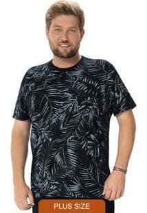 Camiseta Preta Tradicional Folhagem