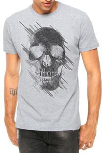 Camiseta Criativa Urbana Caveira Estilizada Manga Curta - Masculino-Cinza