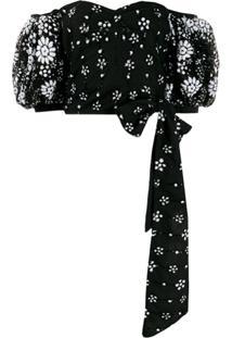 Self-Portrait Off The Shoulder Sequin-Embellished Blouse - Black