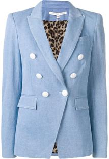 Veronica Beard Double-Breasted Denim Blazer - Azul
