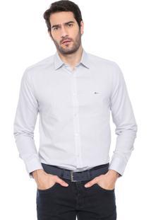 Camisa Aramis Slim Logo Branca/Azul-Marinho