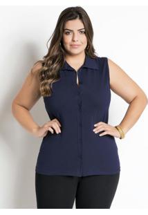 Camisa Sem Mangas Marinho Plus Size Marguerite