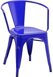 Cadeira Tolix Iron Com Braços - Azul Escuro