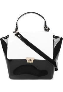 Bolsa Petite Jolie Flap Shape Feminina - Feminino-Preto+Branco