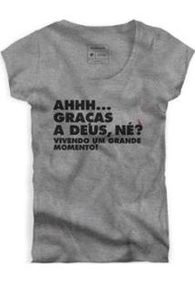 Camiseta Reserva Grande Momento Feminina - Feminino-Cinza