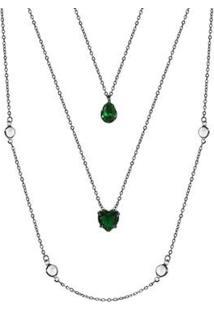 Colar Piuka 3 Voltas Poppy Coração Gota Esmeralda Folheado Em Ródio Negro - Feminino-Verde