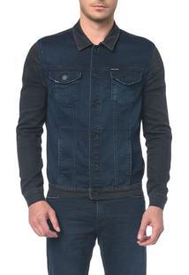 Jaqueta Jeans Moletom Black Blue - Marinho (Imagem Errada) Jaqueta Jeans Moletom Black Blue - Marinho - M